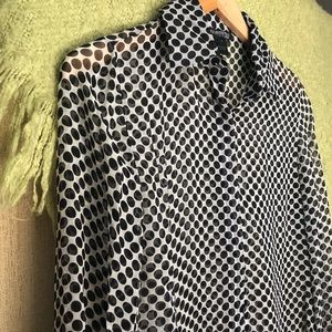 Kenneth Cole black sheer polka dot blouse size 6